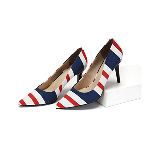 Pointed Comfortable Wedding Shallow 39 Red Summer Elegant Heels Beautiful Mouth Work Striped Size Color Shoes Shoes High Print P7wTqxTRSI