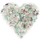 Hilitchi Fluorite Quartz Tumbled Chips Stone Crushed Crystal Natural Rocks Irregular Shape Healing Home Indoor Decorative Stones for Vases Plants Succulents Garden (About 1lb(455g)/Bag)