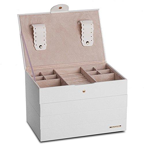 Schmuckkästchen Schmucklade Schmuckkasten 4 getrennte Koffer Schmuckkoffer Schmuckschatulle in Kunstleder -