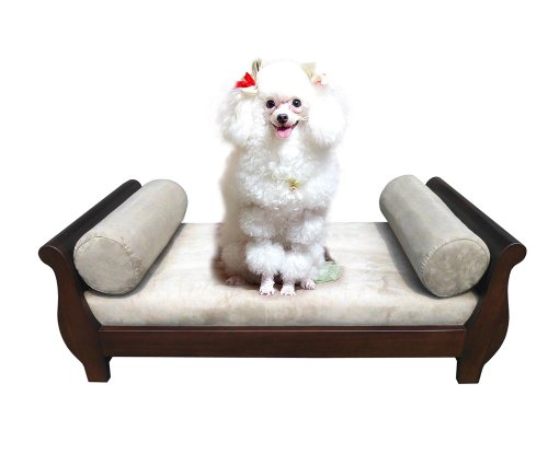 Priya Home Furniture Mahogany Sleigh Pet Micro-Suede Fabric Foam Bed