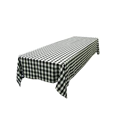 LA Linen Checkered Tablecloth, 60 by 102-Inch, Black