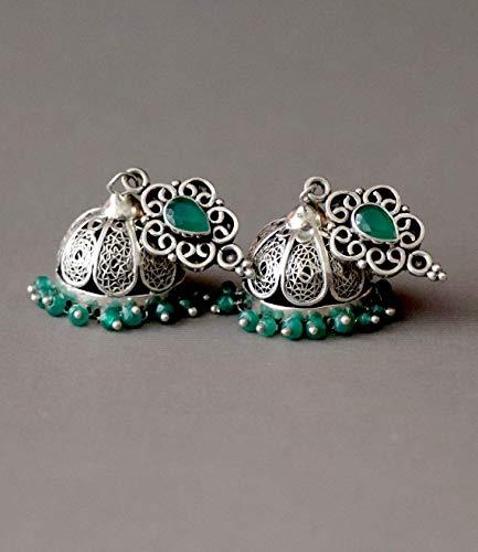 Rare Unique Onyx Gemstone Ring - Jhumka, Jhumki, Antique, Unique, Rare, Green Onyx, Oxidized Sterling Silver Earrings
