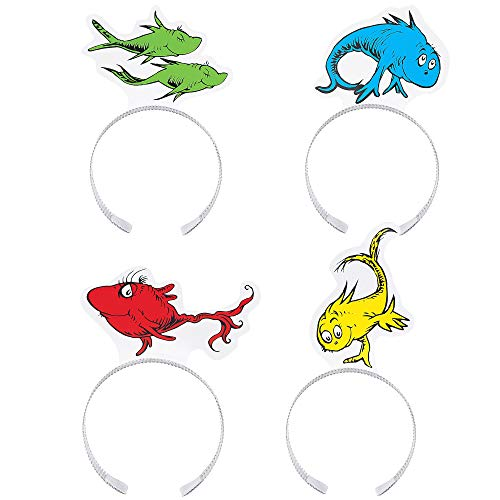 Costumes USA Dr. Seuss One Fish Two Fish Red Fish Blue Fish Headbands 6 Inches 12 Count -
