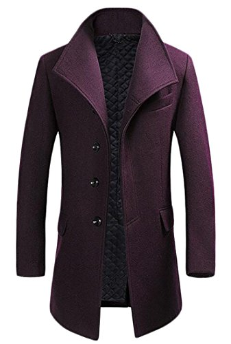 Cruiize Mens Solid Wool-Blend Business Mid-long Outwear Trench Coat Wine Red S by Cruiize