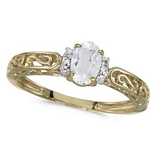 White Topaz and Diamond Filigree Antique Style Ring 14k Yellow Gold ()