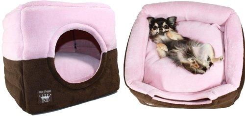 Hip Doggie Pop-up Tent Pet Bed 2 Beds in 1 Collapsible to Regular Bed or pop it up for Square pet cave Bed