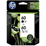 HP 60 Black & Tri-Color Original Ink Cartridges, 2 pack (N9H63FN)