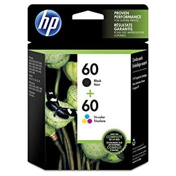 HP 60 Black & Tri-Color Original Ink Cartridges, 2 Cartridges (CC640WN, CC643WN)