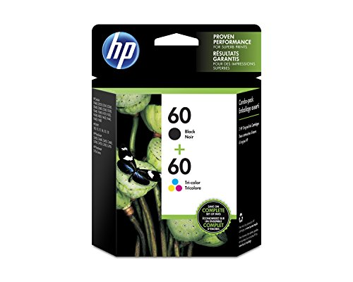 HP 60 Black & Tri-Color Original Ink Cartridges, 2 Cartridges (N9H63FN)