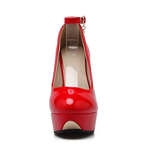 Balamasa Dames Metalen Kettinggesp Lakleder Pumps-schoenen Rood