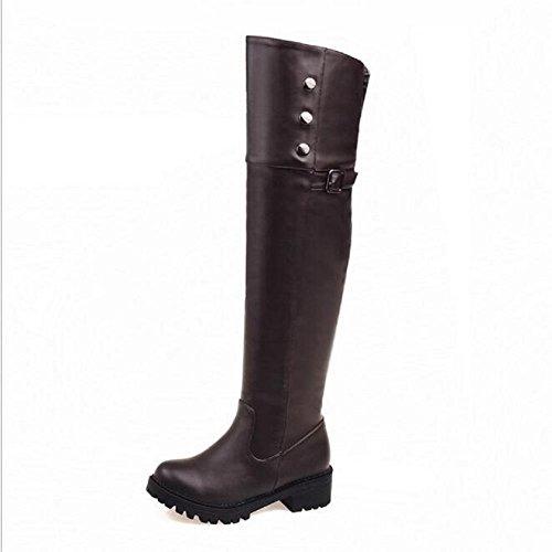 Tamaño grande sobre el talón plano de la rodilla calza las botas de las mujeres ocasionales black plus hair