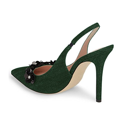 Xyd Women Tacco A Spillo Décolleté Tacco Alto Scarpe A Punta Floreale Festa Di Nozze Vestito Basic Scarpe Verde Scuro