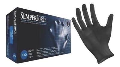 Black Nitrile Exam Tattoo Gloves, Powder Free, Latex Free, Semperforce®, 100/Box sizes SM-XXL