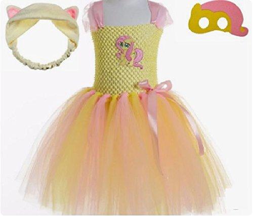Fluttersby Little Pony Costume Tutu Dress/Accessories from Chunks of Charm (4T, Fluttershy Tutu Dress)]()