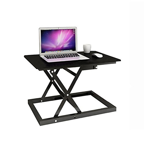 Standing Desk Converter - iiSPORT Height Adjustable Ergonomic Sit Stand Black Riser,Air Rise Tabletop Monitor Laptop Platform Station, 24