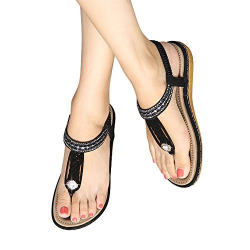 Strap Summer Women Flip Sanmio Flop Shoes T Thong Black8 Shoes bohemian Flat Prime Sandals 5n0dAqdPw