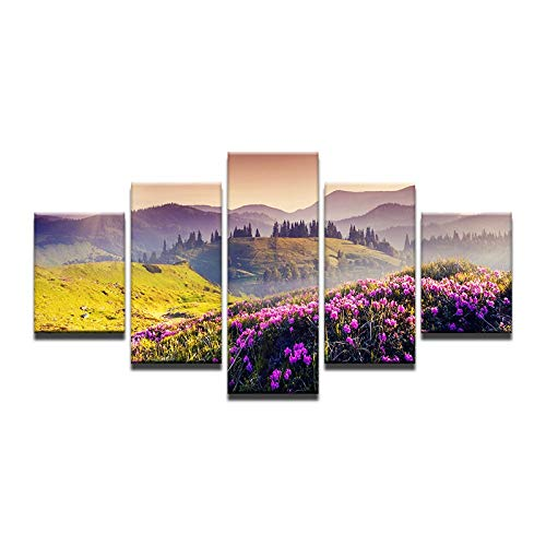 40x60 40x80 40x100cm No Frame Art Painting Wall Pictures Prints On Canvas Oil Painting Lake Flowers Full Mountain Blooming Mordern Decoration Home Decor
