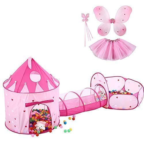 Kids Castle Play Tent with Tunnel Tube & Ball Pit for Kids,Girls,Babies and Toddlers-Castle Tent and Ball Pit with Glow in The Dark Stars, Bonus Pink Butterfly Dress Up Costume Set