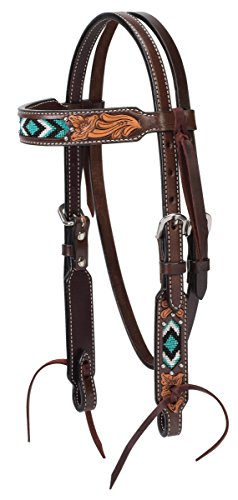 Turquoise Cross Turquoise Beaded Pony Brow Band Headstall (Bits Bridles Western)