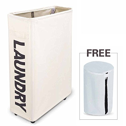 "ZERO JET LAG Slim Collapsible Laundry Hamper Foldable Washing Laundry Basket and Large Laundry Bag with Wheels Mesh Clothes Store and Organizer 15.4""×7.8""×22"" (White)"