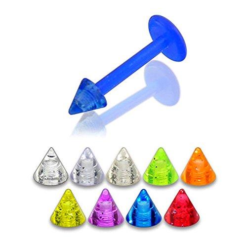 Bijou Piercing Labret lèvres Bioflex avec Cône UV brillant dans le noir 3MM Lot de 10 pièces couleurs assorties