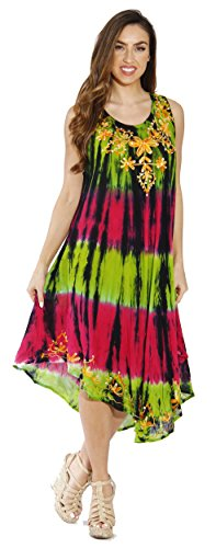 up Beach Summer Sun Tie Cover Floral Swimsuit Embroidered Riviera Dye Dresses Bright 5zUZYAnA