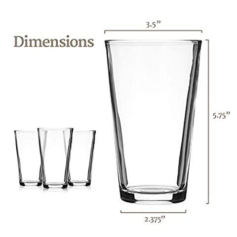 Modvera Drinkware Beer Pint Glass 16 Ounce | Versatile Cocktail Shaker Beer Glass | Perfect for the Pub, Home Bar, or…