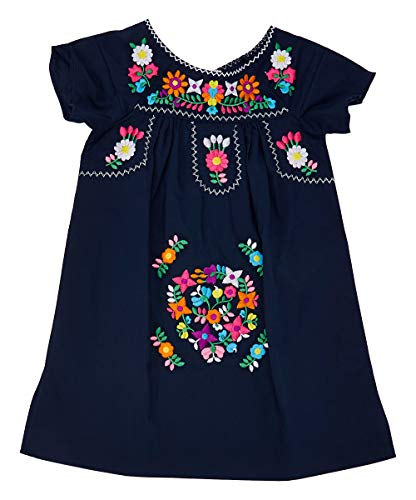 unik Traditional Mexican Girl Embroidered Dress Navy Size 5