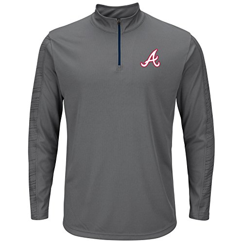 - VF LSG MLB Atlanta Braves Men's Laser-Like Focus Tops, Storm Gray-Athletic Navy, Small
