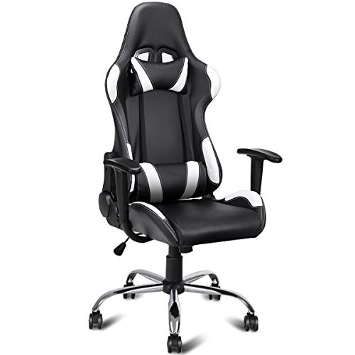 Officelax Computer Chair Racing Chair High Back Adjustable Recliner Swivel Gaming Chair with Headrest and Lumbar Pillow Black and White Officelax