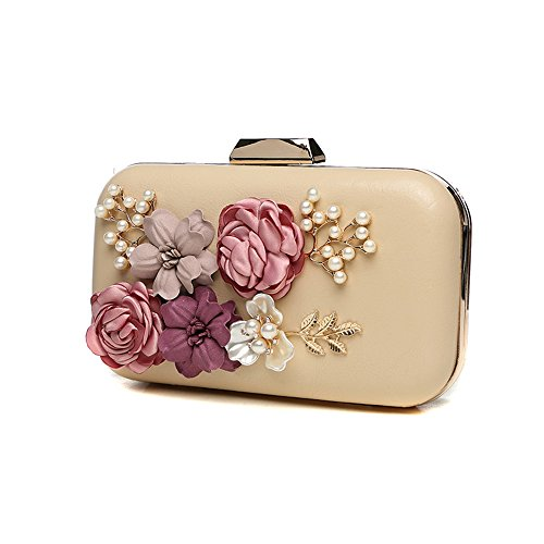 Handbags Color Version Retro The Bag Korean Bag Beige Evening Rose Bag Fashion red Packets of Flower Clip d0SOxWqUw