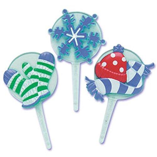 Oasis Supply Winter Puffy Jewel Cupcake/Cake Decorating Picks, 2 3/4-Inch, Set of 12 (Snowman Christmas Jewels)