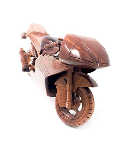 Race Motorcycle Replica Model Hand Crafted with Real Mahogany Wood