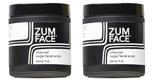 Zum Charcoal Sugar Facial Scrub (Pack of 2) with Cane Sugar, Jojoba Oil, Coconut Oil, Olive Oil, Caster Oil, Essential Oils and Activated Charcoal, 4 oz