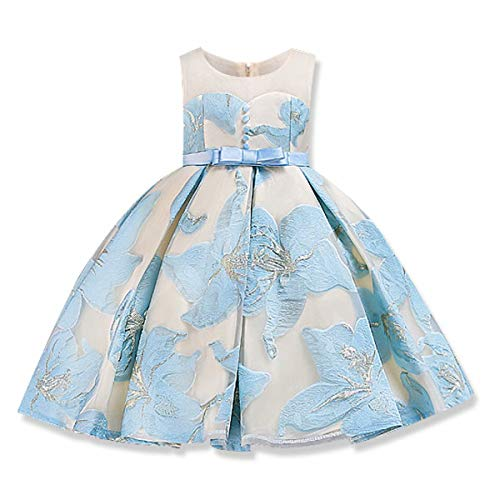 AYOMIS Girls 3D Flower Princess Party Formal Dresses Elegant Pageant Wedding Bridesmaid Prom Christmas Gown (Blue,120)