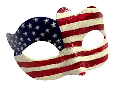 [Patriotic USA Flag Eye Fancy Mask Costume Accessory Red White Blue 4th of July] (White & Red Clown Half Mask)
