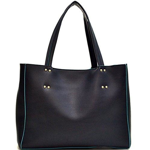 Dasein Faux Leather Studded 2-in-1 Tote Bag with Tassels - Black