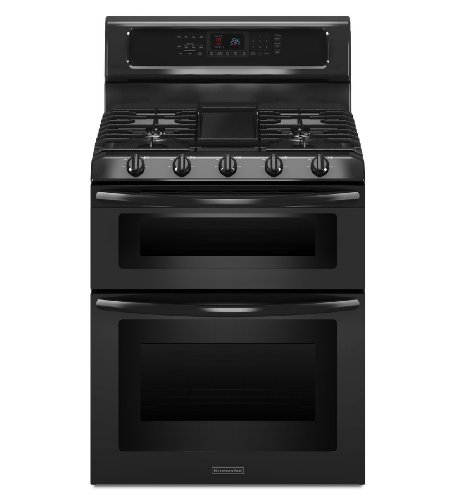 Kitchenaid KGRS505XBL 30-Inch, 5-Burner Freestanding Double Oven Range with Even-Heat Convection