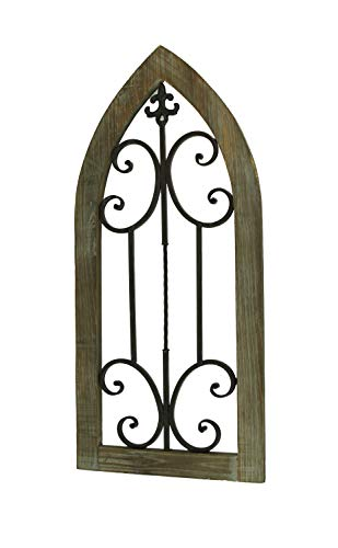 Things2Die4 Wood and Metal Scroll Architectural Window Wall Hanging