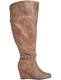 Women's Luna Wide Calf Distressed Faux Leather Boot with...