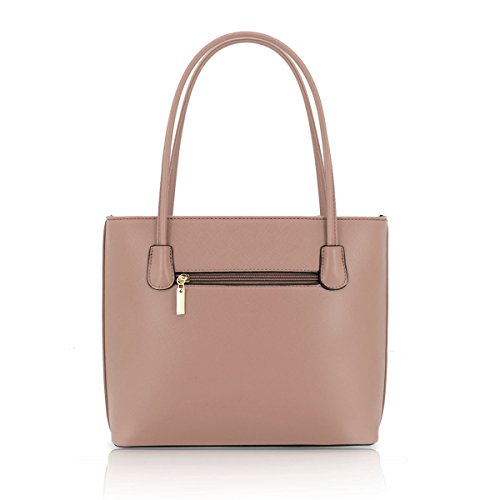 Womens Top Leather Bag Beige Fashion Tote Messenger Handle Bow J48 Ladies Dark Faux Shoulder Detail rwqnxPFrfX