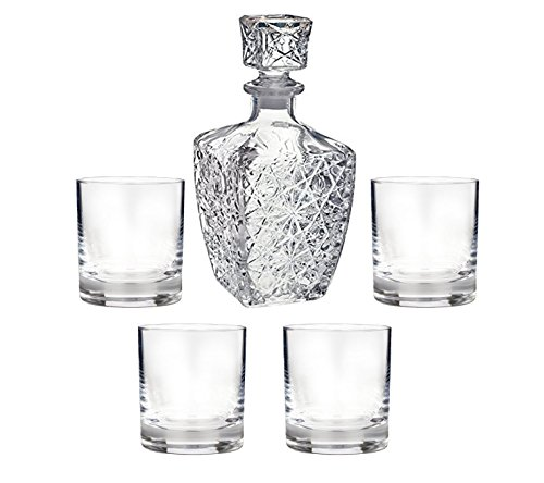 LuckYim - Specially Designed 5 Piece Decanter & Whisky Glasses, Whiskey Decanter with Stopper and 4 Vintage 9 -Ounce Old Fashioned Glasses
