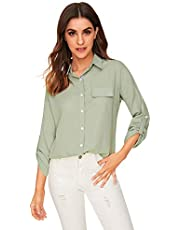 Milumia Womens Roll Up Long Sleeve Button Down Collar Work Blouse Shirt with Pocket