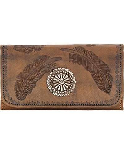 American West Women's Tri-Fold Sacred Bird Feather Wallet Distressed Brown One Size - Leather Tri Fold Handbag