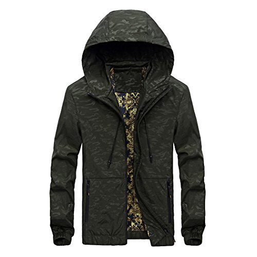 Modern Fantasy Mens Pure Color Spring Cloud Pattern Rock Jacket Casual Hooded Sweatshirt Size US Army Green - Outlet Coach Online Canada