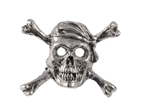 Pirate Skull & Crossbones Pewter Lapel Pin, Brooch, Jewelry, A167 - Pin Crossbones