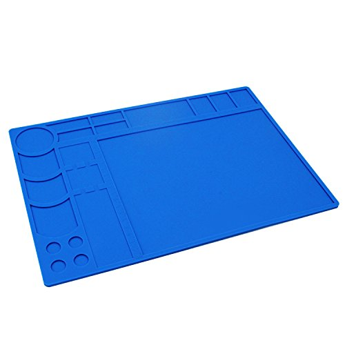 Soldering Mat/Pad Silicone Heat Resistant Mat 932°F Hot Air Rework Mat / Pad Repair Mat for iPad,iPhone,Circuit board and other Electronics Repairing 13.2 x 9.25 Inches (Blue) by Handook