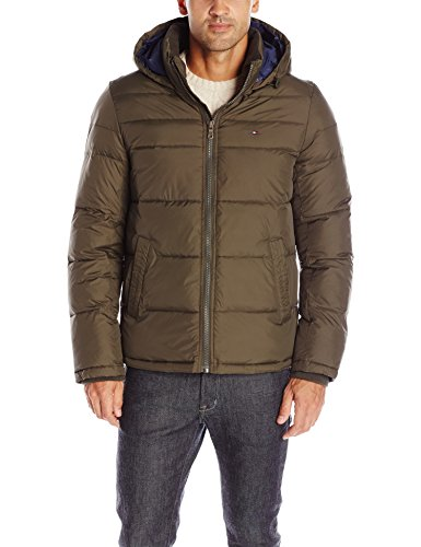 Tommy Hilfiger Men's Classic Hooded Puffer Jacket, Olive, M