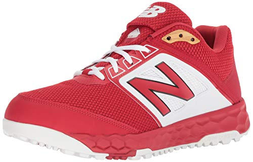 (New Balance Men's 3000v4 Turf Baseball Shoe, red/White, 8.5 D US)