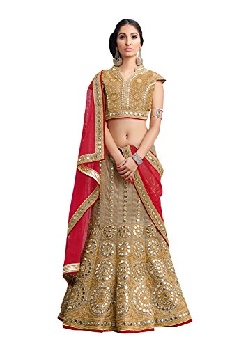 IWS Indian Women Designer Wedding beige Lehenga Choli K-4571-40097